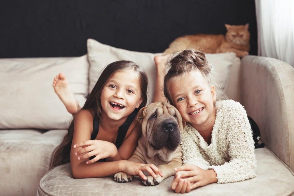 fillettes avec leurs animaux de compagnie